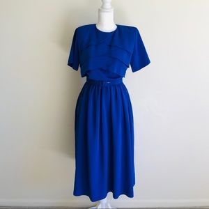 Vintage Blue Scalloped Dress